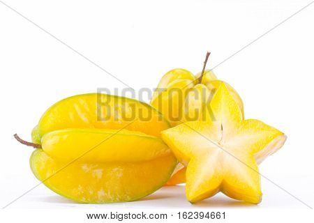 star fruit carambola or star apple ( starfruit ) on white background healthy  fruit food isolated ( side view )
