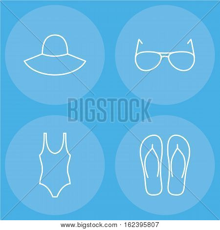 womens beachwear outline icon set contains hat, swimsuit, sunglasses and slippers