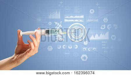Female doctor hand holding syringe with research data graphic