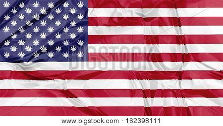 The national United States flag with Marijuana leafs inside, illustration background. concept for legalization in USA.