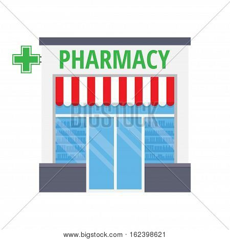 Facade pharmacy drugstore building. Pharmacy shop window with tablets, pills and potions. Isolated on white background. Flat style vector illustration.