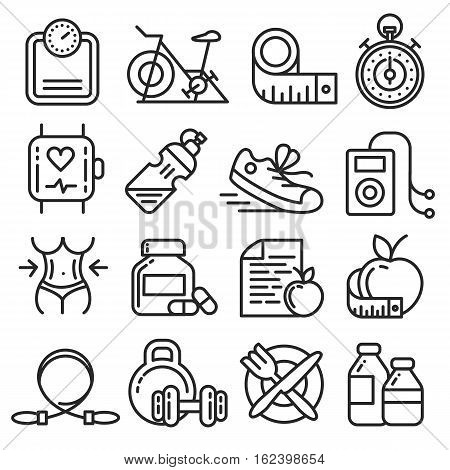 Vector icons lines set collection fitness gym fit