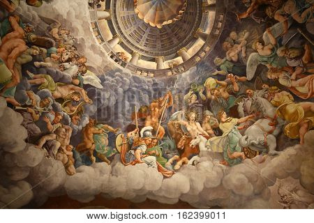 MANTUA ITALY - MAY 2 2016: Palazzo Te in Mantua is a major tourist attraction. Mannerism's fresco: Giulio Romano's illusionism invents a dome overhead and dissolves the room's architecture in the Fall of the Giants.