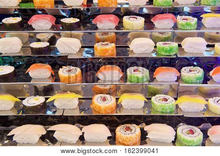 Assorted Sushi rolls in a buffet restaurant