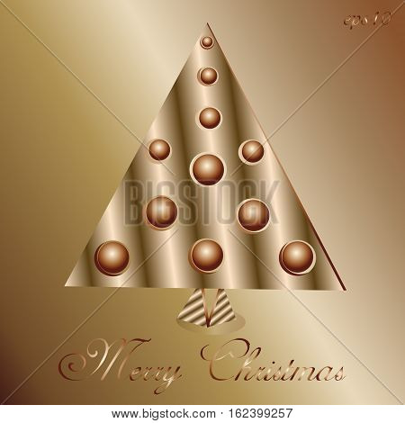 Copper Tree abstraction Decoration author design handmade holiday metal triangle brown ball New Year text circle congratulations invitation Christmas eps10 illustration stock vector