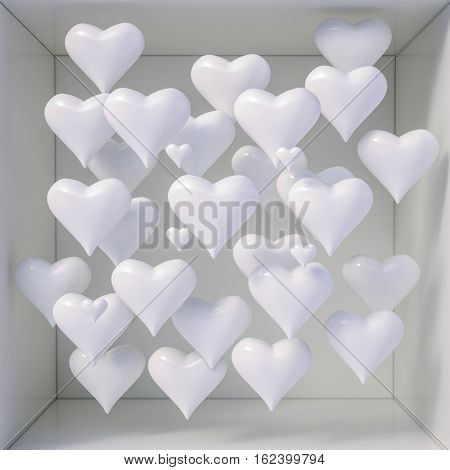 3d Rendering: 3d Hearts Shapes for Valentines Day Background and Weeding Design Elements, Be my Valentine, Hearts on Abstract Love Background, Love Romantic Messages with Hearts, Valentines Love Day