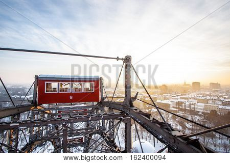 The famous Giant Wheel in Vienna Austria in winter. One of the most famous landmarks of Vienna.