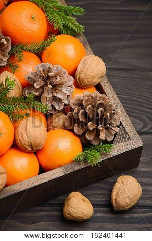 Fresh tangerine clementine with nuts and cones in wooden tray on dark wooden background. Selective focus, vertical.