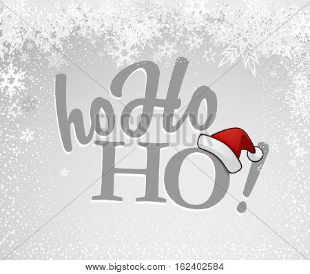 Gray Ho-ho-ho! text with Santa's red hat on silver background and many snow flakes.