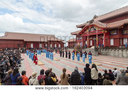 Okinawa, Japan - January 02, 2015: Dressed-up people at the traditional New Year celebration at Shuri-jo castle