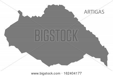 Artigas Uruguay Map in grey department silhouette illustration