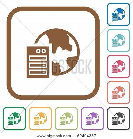 Web hosting simple icons in color rounded square frames on white background