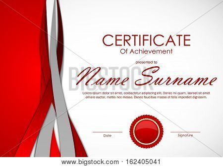 Certificate of achievement template with light red and gray dynamic material background and seal. Vector illustration