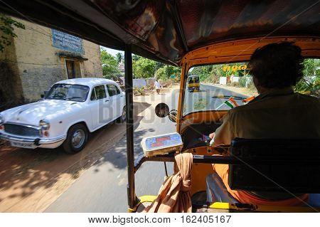 Tuc-tuc driver at work in Kanyakumari , 7 October 2016, Tamil Nadu India