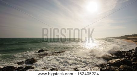 Indian Ocean coast in Kanyakumary the southernmost point of the Indian subcontinental Tamil Nadu India