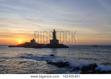 People greet the sunrise in Kanyakumari the southernmost point of the Indian subcontinent Tamil Nadu India