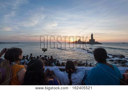 People greet the sunrise in Kanyakumari the southernmost point of the Indian subcontinent, 8 October 2016, Tamil Nadu India