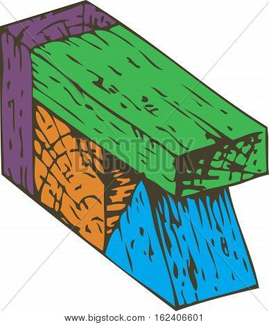 Colorful Wooden Blocks Composition. Isolated on White background