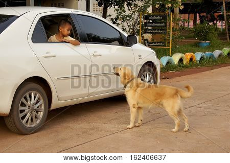 THAILAND 16 DEC 2016; dog stand out with boy sit in the car's eye. Events in the eastern region of Northwest