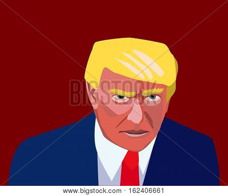20 Dec, 2016: President of United States Donald Trump.. Picture of Donald Trump. Trump new president portrait.Donald Trump silhouette.Donald Trump angry caricature.