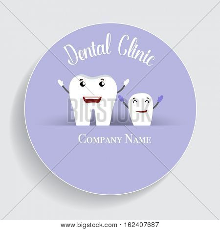 Dental Cartoon. Happy and Healthy Teeth. Vector illustration.