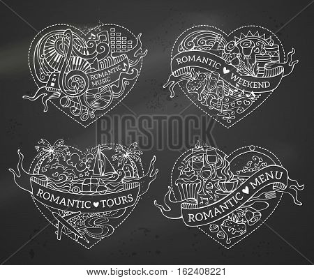 Vector Set Of Four Hearts.