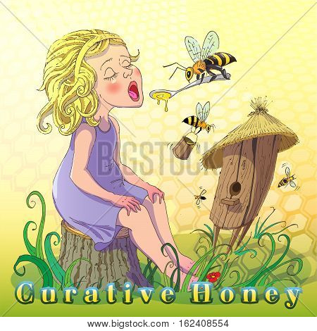 Creative illustration promotes use honey. Cartoon image of a teenage girl eating honey on a background of the hive and the bees.