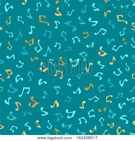 Vector seamless blue music pattern. Various hand-drawn music notes. Blue and gold boundless background.