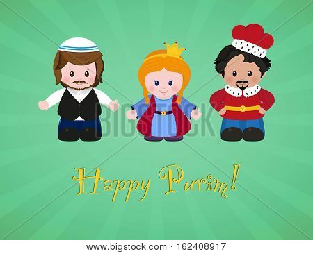 Jewish holiday of Purim. Esther Mordecai and Achashverosh vector illustration of fun characters in cartoon style. EPS 10