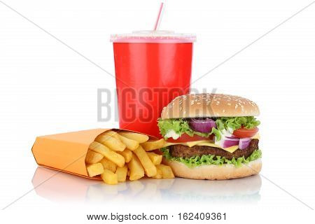 Cheeseburger Hamburger And Fries Menu Meal Combo Fast Food Drink Isolated