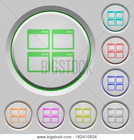 Mosaic window view mode color icons on sunk push buttons