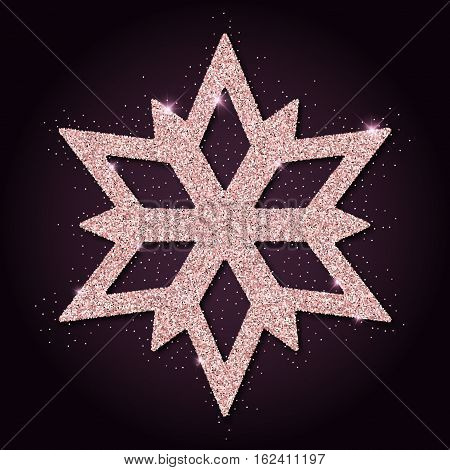 Pink Golden Glitter Interesting Snowflake. Luxurious Christmas Design Element, Vector Illustration.