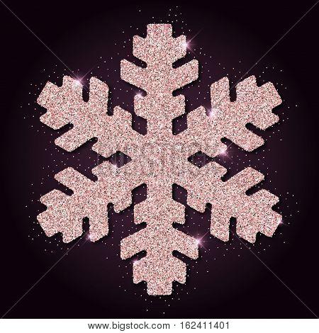 Pink Golden Glitter Nice Snowflake. Luxurious Christmas Design Element, Vector Illustration.