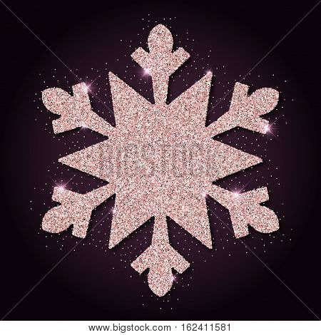 Pink Golden Glitter Glamorous Snowflake. Luxurious Christmas Design Element, Vector Illustration.