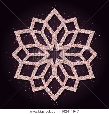 Pink Golden Glitter Enchanting Snowflake. Luxurious Christmas Design Element, Vector Illustration.