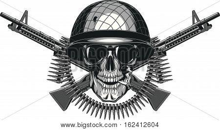 Vector illustration of human skull smoking a cigarette in a military helmet