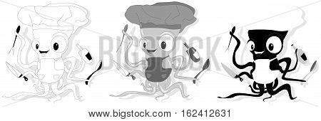 Nice Cartoon Octopus Chef In Cook Hat.