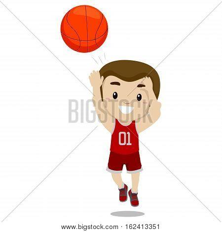 Vector Illustration of a Boy Shooting the Ball
