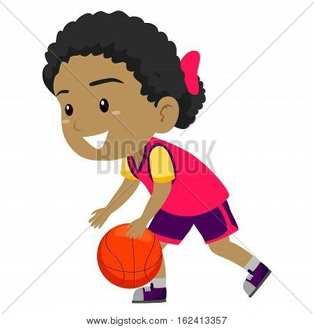Vector Illustration of Girl dribbling the Ball