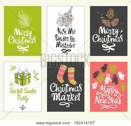 Christmas poster set in sketch style. Beautiful new year funny symbols, cock, snowflakes, glove, ball, gift, mistletoe, socks, gloves, rooster, gift, surprise, cookie, ball, cone, bells and holiday lettering. Vector illustration.