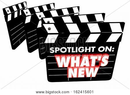 Spotlight on What's New Update News Announcement Movie Clapper Boards 3d Illustration
