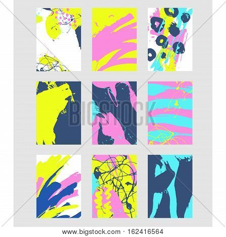 Set of multicolor abstract pattern with creative texture. Vector illustration of paint strokes, spray. Hand drawn background.