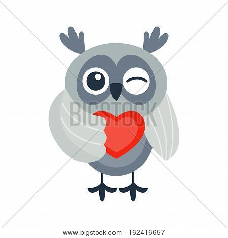 Cute vector funny cartoon owl. Animal character comic flying. Doodle cheerful with colorful emotion and humor eyes wild bird. Adorable expression graphic.