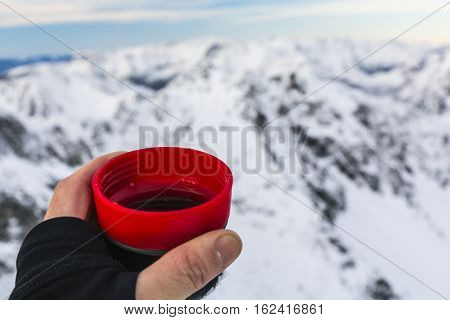 Cup Of Tea In The Winter In The Mountains.