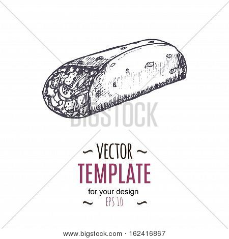 Vector vintage burrito drawing. Hand drawn monochrome fast food illustration. Great for menu, poster or label.