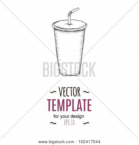 Vector vintage cold drink drawing. Hand drawn monochrome fast food illustration. Great for menu, poster or label.