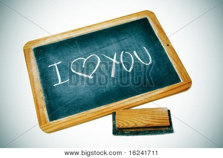 I love you drawn on a blackboard chalk