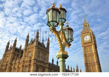 LONDON, UK: View of Big Ben and the Houses of Parliament from Westminster Bridge