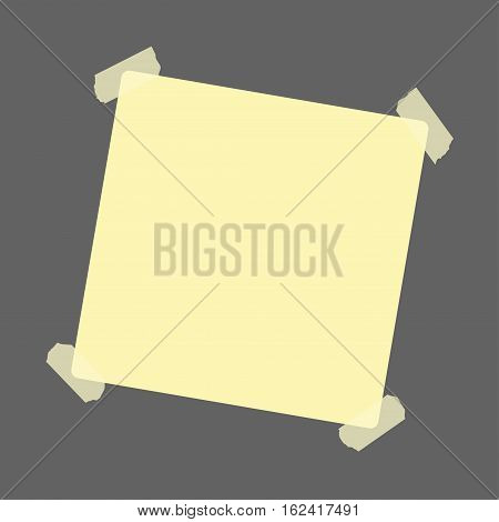 Yellow sticker with adhesive tape on grey background. Notice reminder. Vector illustration