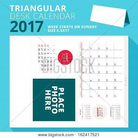 Triangular Desk Calendar Planner For 2017 Year. August 2017. Week Starts On Sunday. Printable Statio
